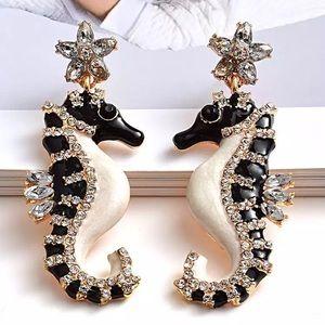 Seahorse earrings jeweled sea creature diamond